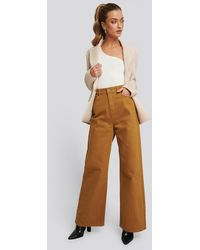 NA-KD Trend Wide Leg High Waisted Jeans - Bruin