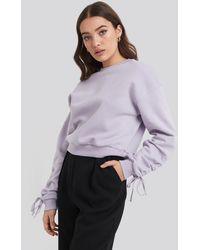 NA-KD Tie Sleeve Sweatshirt Purple