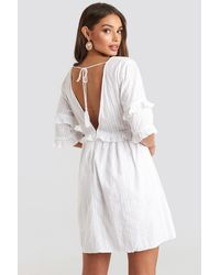 NA-KD Open Back Ruffle Sleeve Mini Dress - Wit