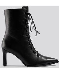 NA-KD Pointy Lace Up Booties Black