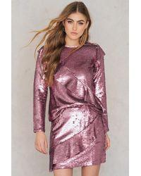 Glamorous Pink Frill Sequin Skirt - Multicolour