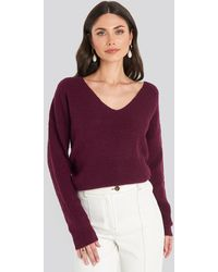 NA-KD Oversized V Neck Knitted Sweater - Lila