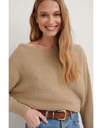 NA-KD Off Shoulder Knitted Sweater - Natur