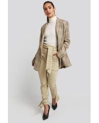 NA-KD Beige Ankle Tie Cargo Slim Fit Trousers - Natural