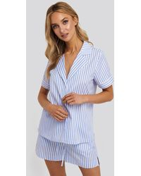 NA-KD Multicolor Poplin Cotton Night Shirt - Blue