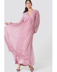 NA-KD - Wide Balloon Sleeve Chiffon Dress - Lyst