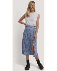NA-KD Asymmetrical Button Midi Skirt - Bleu