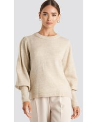 NA-KD - Puff Sleeve Wide Rib Knitted Sweater - Lyst