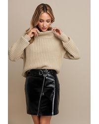 NA-KD Patent Zipper Skirt - Zwart