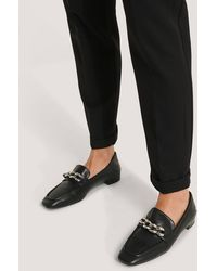 NA-KD Black Big Chain Fold In Loafers