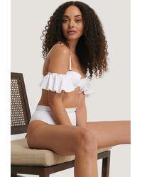 Trendyol Rüschen Ärmel Bikini Oberteil - Weiß