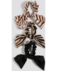 NA-KD Zebra Pattern Scrunchie Set - Meerkleurig