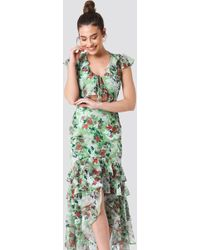 Trendyol - Tie Front Ruffle Detailed Dress Mint - Lyst