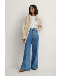 NA-KD Blue Recycled Super Wide Leg Jeans