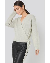 NA-KD Overlap Tied Knitted Sweater - Grijs