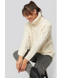 NA-KD Cable Knitted High Neck Sweater - Natur