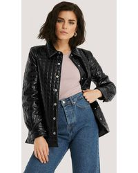 NA-KD Black Quilted Pu Jacket