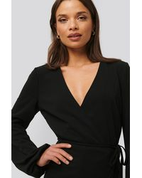 NA-KD - Balloon Sleeve Wrap Over Top - Lyst