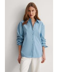 NA-KD Classic Recycelt Übergroßes Hemd - Blau