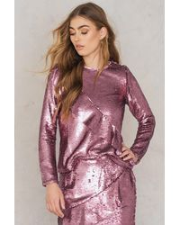 Glamorous Pink Frill Sequin Top