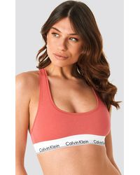 Calvin Klein Unlined Logo Bralette - Roze