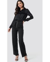 NA-KD High Waist Zip Detail Pants - Noir