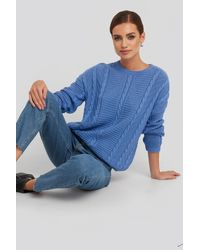 NA-KD Round Neck Cable Sweater - Blauw