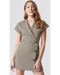 Mango - Cuadro Dress Brown - Lyst