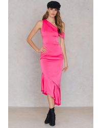 Lavish Alice - Asymmetric Satin Dress - Lyst