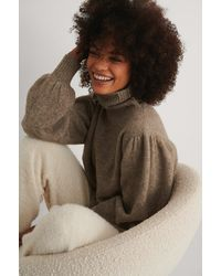 NA-KD Wool Blend Knitted Polo Neck Jumper Brown