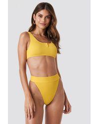 NA-KD Ribbed High Waist Bikini Bottom Yellow