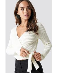 NA-KD - Overlap Ribbed Knitted Sweater - Lyst