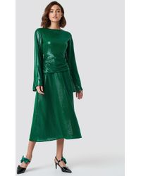 7ddc15acf2b1 NA-KD - Gathering Detail Sequins Midi Dress Green - Lyst