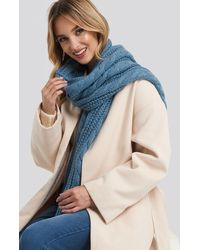 NA-KD Cableknit Scarf - Blauw