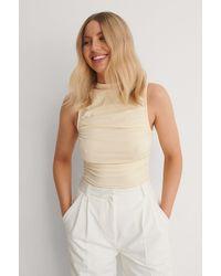 NA-KD - Beige Organic Gathered Sleeveless Jersey Top - Lyst