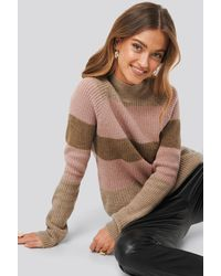 NA-KD Raglan Sleeve Striped Knitted Sweater - Multicolore