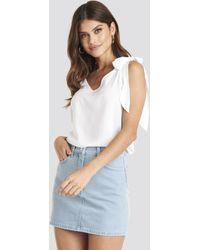 NA-KD High Waist Denim Mini Skirt - Bleu
