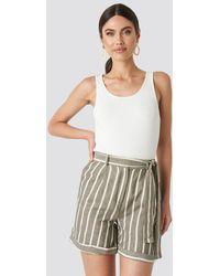 Trendyol Striped Tulum Linen Shorts - Groen