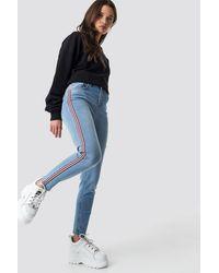 NA-KD Side Striped Skinny Jeans - Blauw