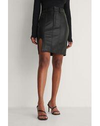 NA-KD Black Slit Detail Pu Skirt