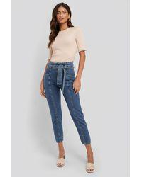 NA-KD Paper Waist Jeans - Blauw