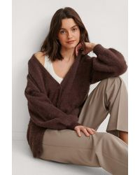 NA-KD Brown Feather Yarn Knitted Cardigan