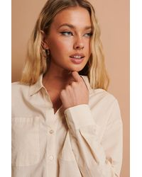 NA-KD Beige Linen Look Shirt - Natural