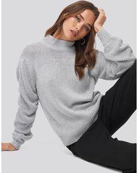 NA-KD Silver Glittery Knitted Jumper - Metallic