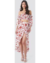Trendyol White,red Floral Patterned Skirt-blouse Set