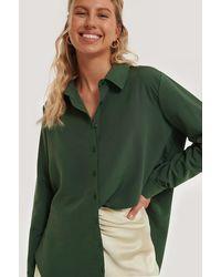 NA-KD Gerecycleerd Oversized Shirt - Groen