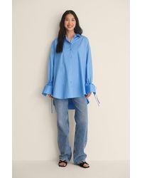 NA-KD - Reborn Recycelt Shirt Mit Gebundenen Ärmeln - Lyst