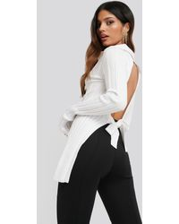 NA-KD Open Back Ribbed Sweater - Blanc