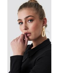 NA-KD Accessories Tortoise Square Drop Earrings - Natur