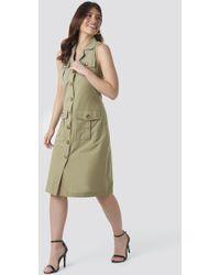 Trendyol Buttoned Linen Dress - Grün